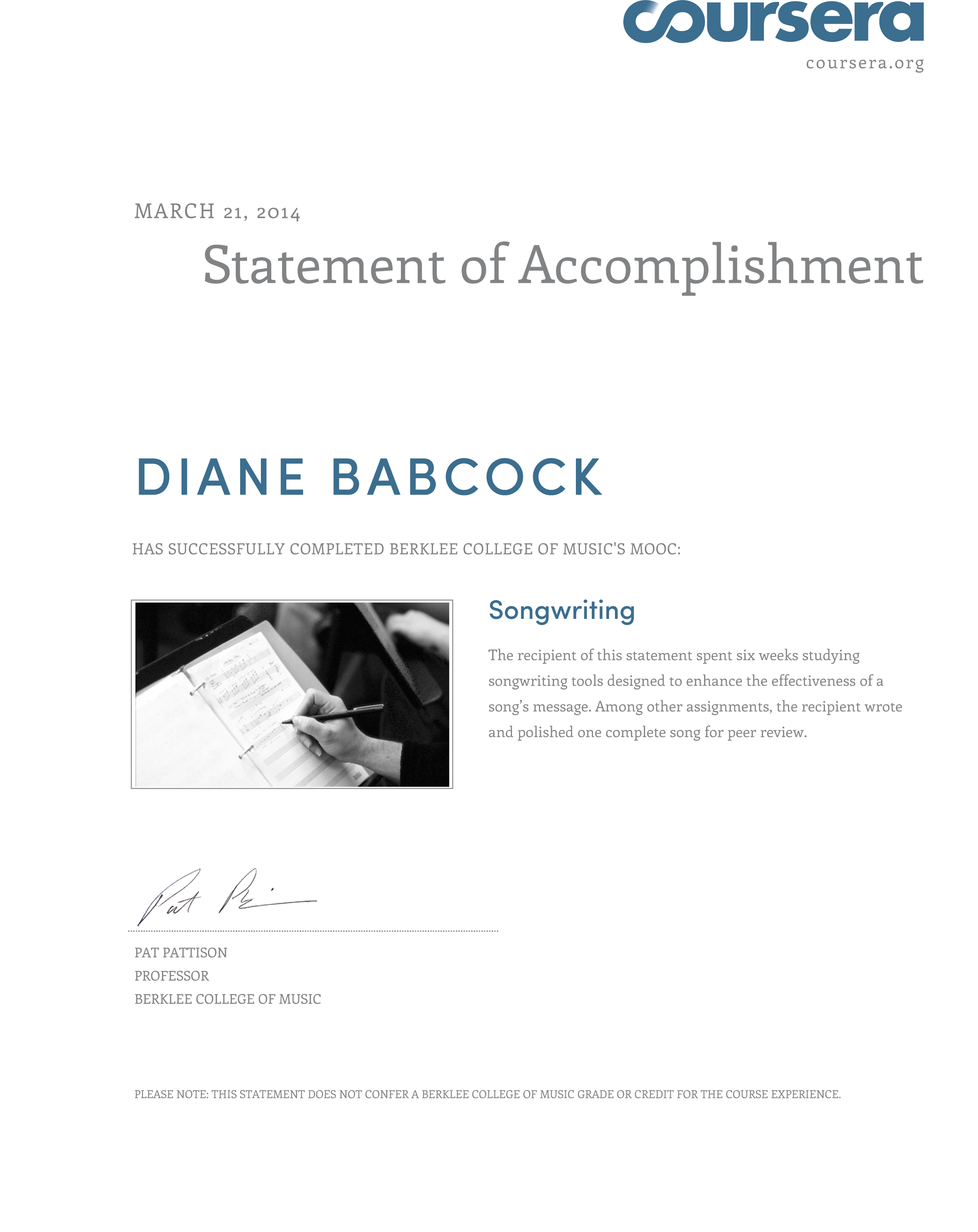 songwriting certificate