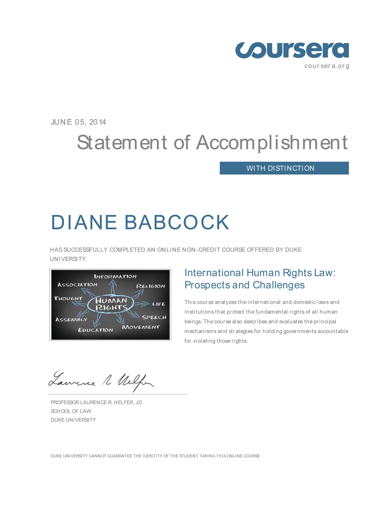 certificate-human rights law